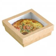 Kraft Brown Box With Window Lid - Base: 7.4 X 7.4 X 1.6 - 200/CS