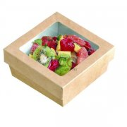 Kraft Brown Box With Window Lid - Base: 3.9 X 3.9 X 1.6 - 250/CS