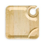 Bamboo Wine Plates Disposable 9 in Square 96/CS  sc 1 st  Eco Friendly Catering Supplies Bamboo Dinnerware Bamboo & Plates with Cup Holder | Cocktail Plates with Drink Holder ...